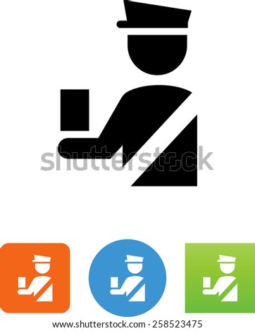 Security officer checking a document. Vector icon for video, mobile apps, Web sites and print projects.