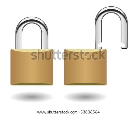 Security Padlock Vector - stock vector