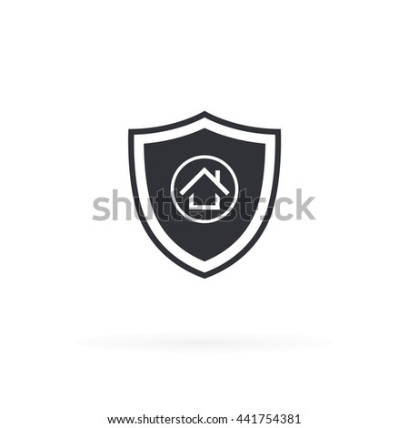 Security Shield Home Icon - stock vector