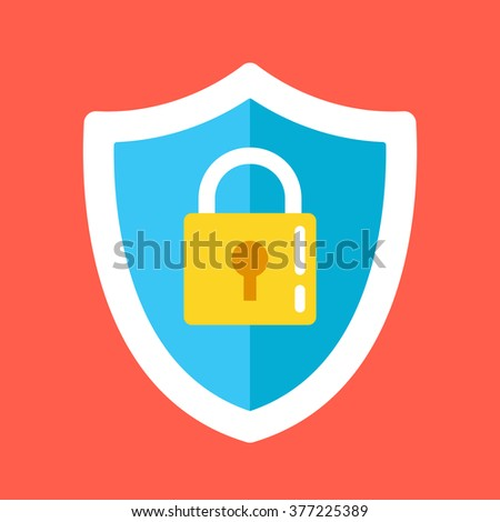 Security shield lock icon. Creative vector illustration isolated on red background - stock vector
