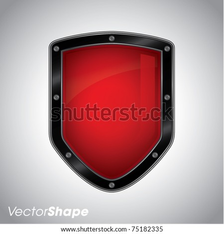 Security shield symbol in red color - stock vector