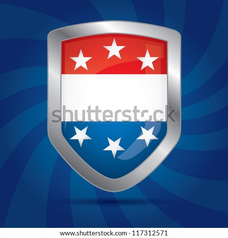 Security shield with american flag color combination on a dynamic background with circular lines, symbol icon, vector illustration - stock vector