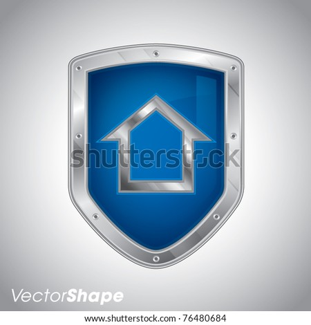 Security shield with house symbol, house protection solutions, vector illustration