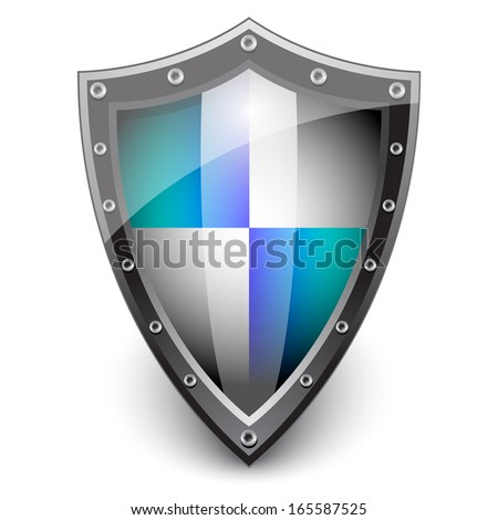 Security steel shield . Protection concept  - stock vector