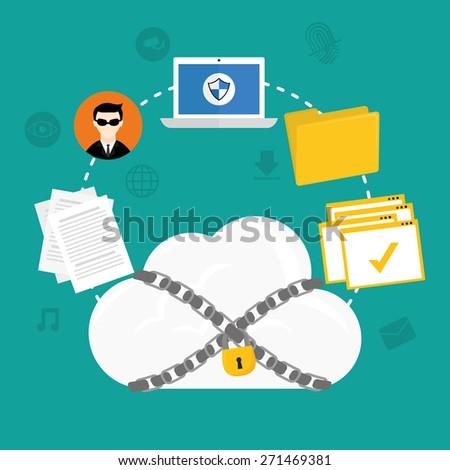 Security system design over blue background ,vector illustration. - stock vector