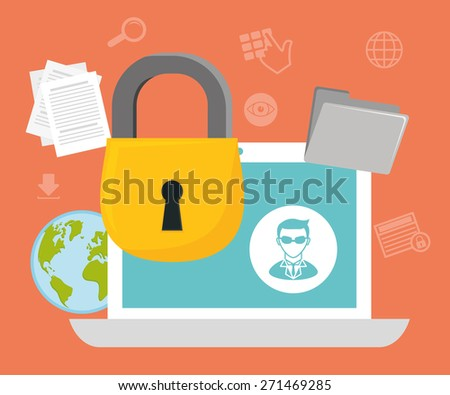 Security system design over orange background ,vector illustration. - stock vector