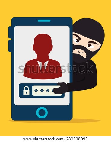 Security system design over yellow background, vector illustration. - stock vector