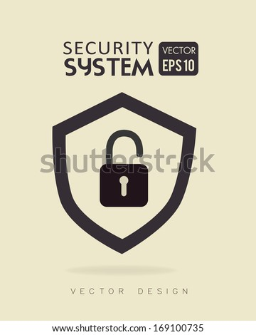 security system over beige background vector illustration - stock vector