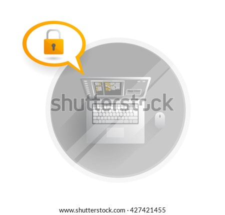 Security system.This computer is secured, vector created illustration, EPS10.  - stock vector