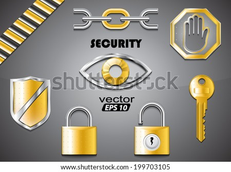 security theme set / 3d objects / vector illustration eps10 - stock vector