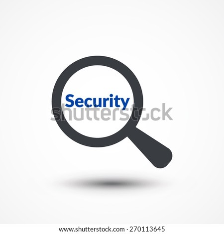 Security word with magnifying glass  - stock vector