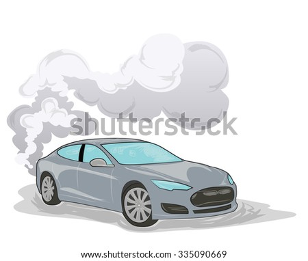 sedan with smoke behind isolated on white - stock vector
