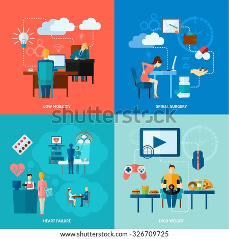 Sedentary design concept set with low mobility flat icons isolated vector illustration - stock vector