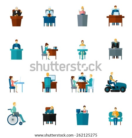 Sedentary life inactive lifestyle passive living icons flat set isolated vector illustration - stock vector