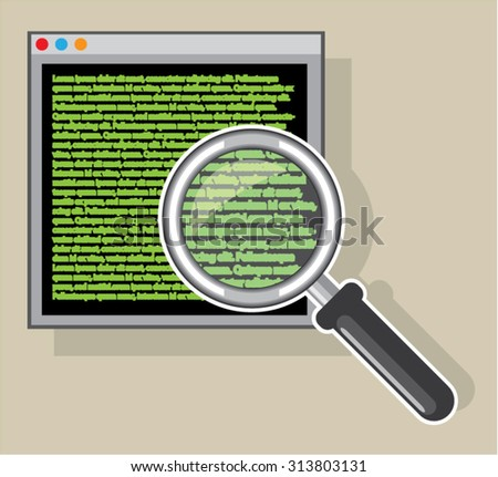 See code through magnifying glass  - stock vector