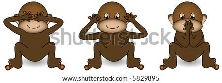 See no evil,hear no evil,speak no evil monkey vector. - stock vector