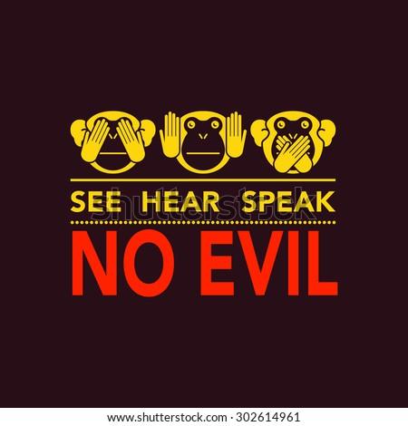 See no evil, hear no evil, speak no evil. Vector illustration. - stock vector