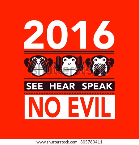 See no evil, hear no evil, speak no evil. Vector illustration. - stock vector