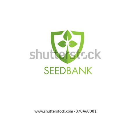 Seed Bank Protection Sprout Inside Shield Shape. Creative Vector Design Element - stock vector