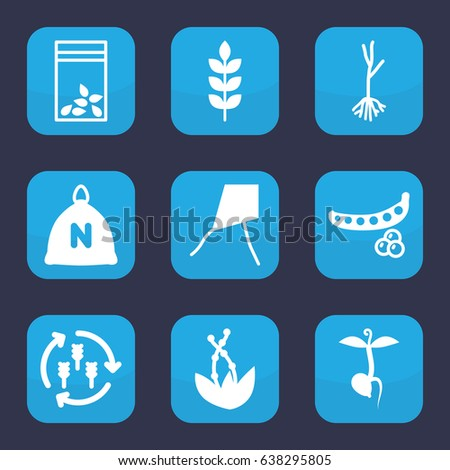Seed icon. set of 9 filled seed icons such as wheat, harvest, sack, peas, sprout, seed bag, plant