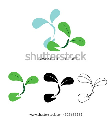 Seeding icon -  icon seeds sprout vector silhouette set. Healthy food symbol. Flat design graphic. Eco farm product sign. Green concept. Eps 10. Isolated. - stock vector