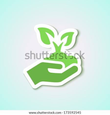 seedling icon with leaves and hand isolated in green for ecology & agriculture - stock vector