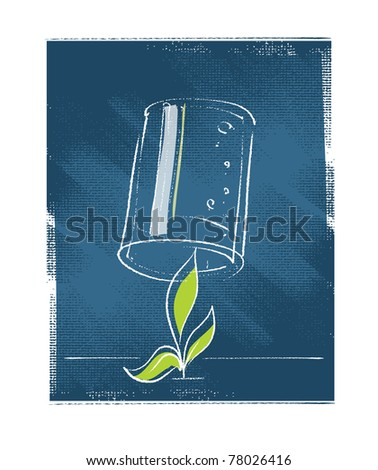 seedling plant protected with a glass - stock vector