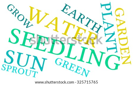 Seedling word cloud on a white background.