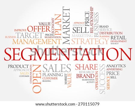 Segmentation word cloud, business concept - stock vector