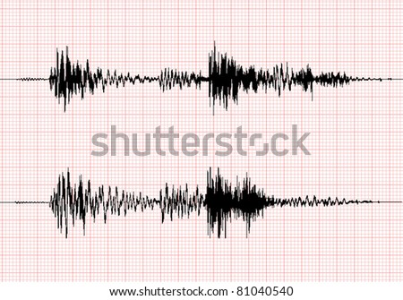 seismogram for seismic measurement - record on chart of earthquake wave on graph paper - stereo audio wave diagram - stock vector