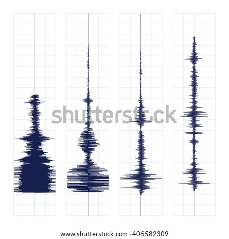 Seismogram of different seismic activity record vector illustration, earthquake wave on paper fixing, stereo audio wave diagram background - stock vector