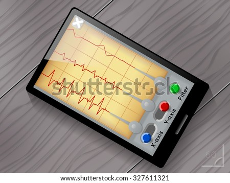 Seismograph app vector user interface. Screen and device, earthquake and wave, seismic graph illustration - stock vector