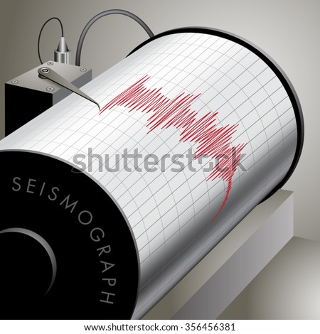 Seismograph recording ground motion during earthquake. Vector illustration - stock vector