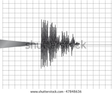 Seismometer. Instrument that measure motions of the ground, including those of seismic waves generated by earthquakes, nuclear explosions, and other seismic sources. - stock vector