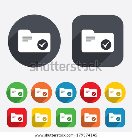 Select document folder sign. Accounting binder symbol. Bookkeeping management. Circles and rounded squares 12 buttons. Vector - stock vector