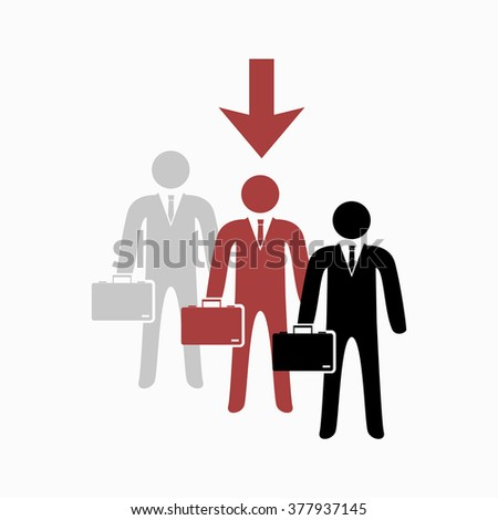 Selected stick businessman in queue - stock vector