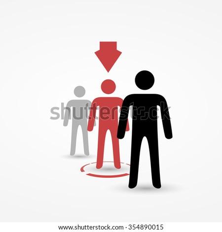 Selected stick man in queue - stock vector