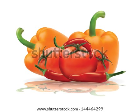 Selected vegetables with reflection in editable vector format.