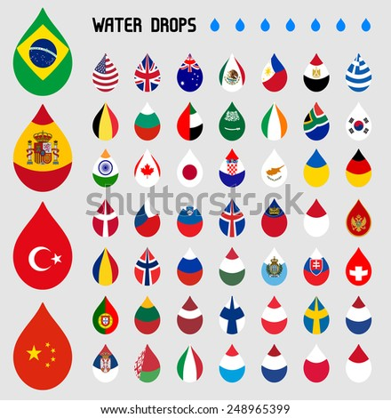 Selected world flag collection, water drop shape - stock vector