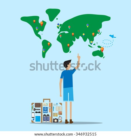selecting destination traveler stand in front of world map with travel luggage  - stock vector