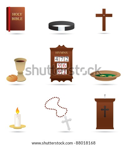 Selection of Christian Religious icons - stock vector