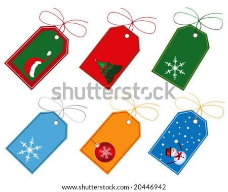 Selection of Christmas gift tags designed in Illustrator. - stock vector