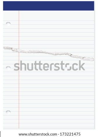 Selection of office paper in line with the page have a cut. Vector illustration.