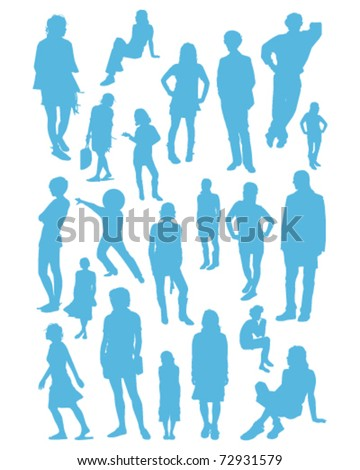 Selection of silhouette illustrations of young people - stock vector