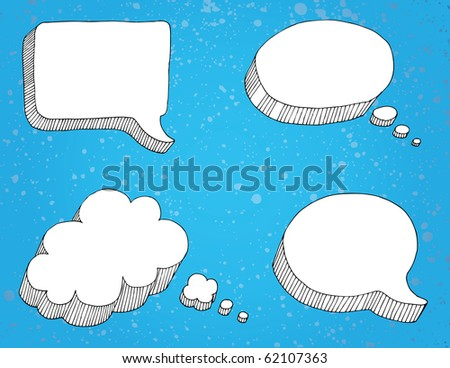 Selection of thought bubbles, separate from background. - stock vector
