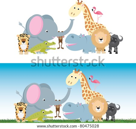 selection of wild animal cartoons including elephants, cats and a monkey - stock vector