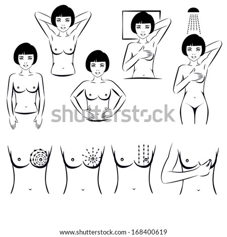self exam, breast cancer examination - stock vector