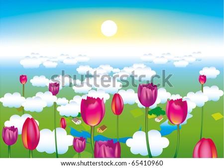 Self illustrated Spring Landscape. - stock vector