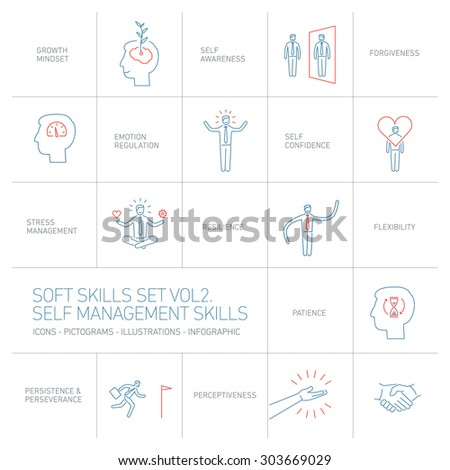 Self management soft skills vector linear icons and pictograms set blue and red on white background - stock vector