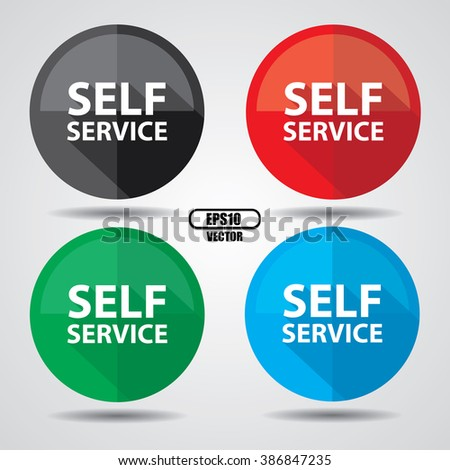 Self service, Button, label and sign - Vector illustration